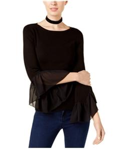 I-N-C Womens Georgette Cuff Pullover Sweater