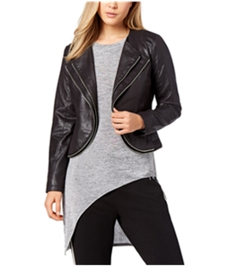 bar III Womens Zipper-Trim Motorcycle Jacket
