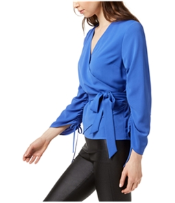 bar III Womens Ruched Wrap Knit Blouse