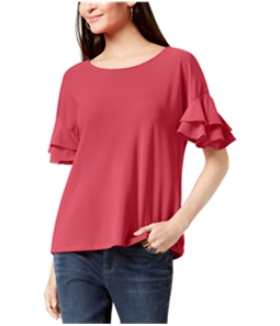 I-N-C Womens Ruffle Sleeve Pullover Blouse