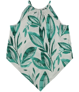 Alfani Womens Printed Pointed-Hem Halter Top Shirt