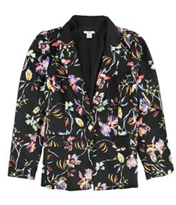 bar III Womens Lily Print One Button Blazer Jacket