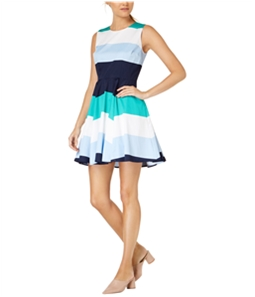 maison Jules Womens Colorblocked A-line Fit & Flare Dress