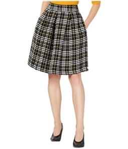 maison Jules Womens Plaid A-line Pleated Skirt