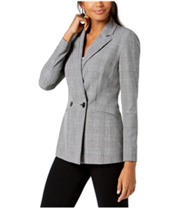 I-N-C Womens Glen Plaid Double Breasted Blazer Jacket