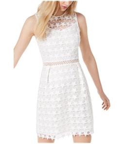maison Jules Womens Star-Pattern Lace A-line Fit & Flare Dress