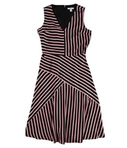 bar III Womens Mixed-Stripe Fit & Flare Dress