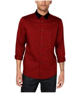 I-N-C Mens Velvet Collar Button Up Shirt
