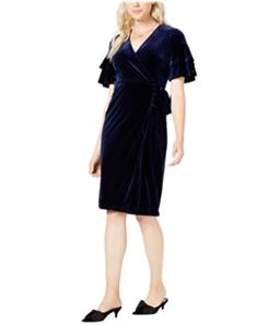 maison Jules Womens Velvet Wrap Asymmetrical Dress
