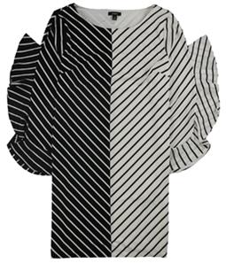 Alfani Womens Colorblocked Ruffle-Sleeve Flounce Dress