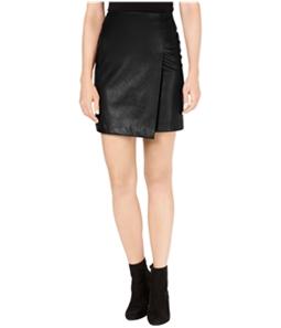 bar III Womens Faux Leather Mini Wrap Skirt