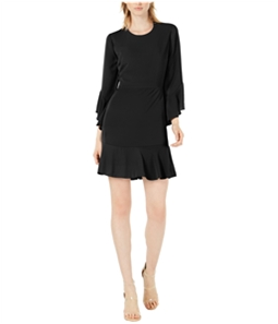 bar III Womens Solid Ruffled Dress