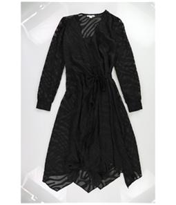 bar III Womens Burnout Wrap Dress