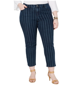Style & Co. Womens Striped Ankle Slim Fit Jeans