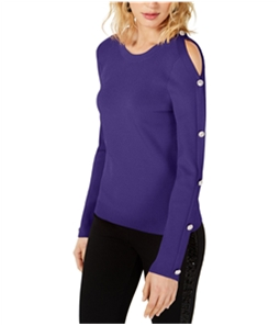 I-N-C Womens Buttoned Sleeve Pullover Sweater