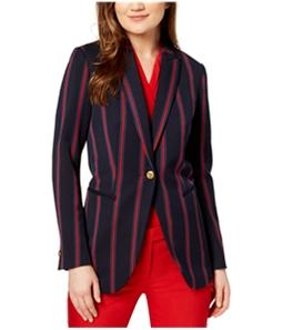 Anne Klein Womens Striped One Button Blazer Jacket