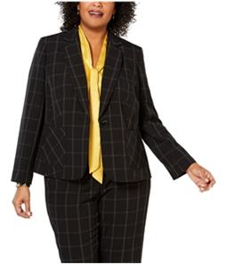 Kasper Womens Windowpane One Button Blazer Jacket