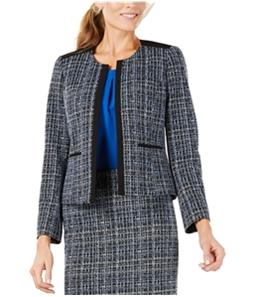 Kasper Womens Jewel Neck Jacquard Blazer Jacket