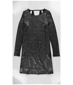 bar III Womens Silver Metallic Shift Dress