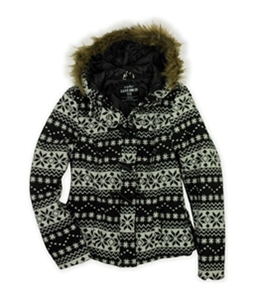 Ecko Unltd. Womens Fairisle Fur Duffel Fleece Jacket