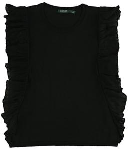 Ralph Lauren Womens Ruffled Trim Knit Sweater