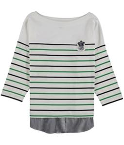 Ralph Lauren Womens Patch Logo Striped Pullover Blouse