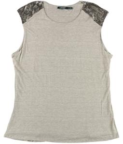 Ralph Lauren Womens Beaded Cap-Sleeve Knit Blouse