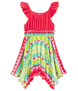 Sweet Heart Rose Girls Flutter-Sleeve Tie Dye Tank Dress
