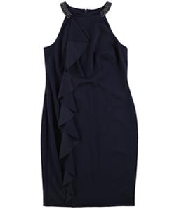 Ralph Lauren Womens Ruffled Embellished Sheath Dress