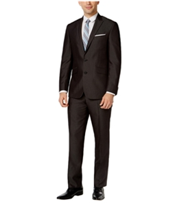 Kenneth Cole Mens Black Micro Stripe Two Button Formal Suit