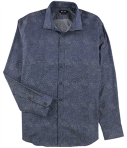 DKNY Mens Slim Fit Stretch Print Button Up Dress Shirt