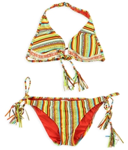 Lucky Brand Womens Striped Crochet Side Tie 2 Piece Bikini