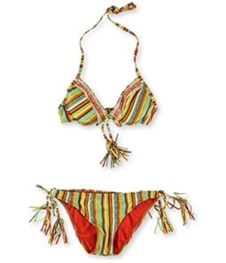 Lucky Brand Womens Santiago Beaded Side Tie 2 Piece Bikini