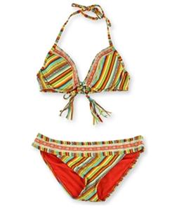 Lucky Brand Womens Striped Crochet Hipster 2 Piece Bikini