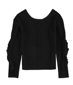 bar III Womens Ruffle-Sleeve Pullover Blouse