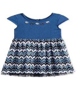 Sweet Heart Rose Girls Denim Crochet Shift Dress