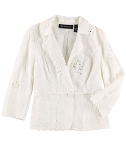 I-N-C Womens Embroidered One Button Blazer Jacket