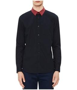 Calvin Klein Mens Striped Collar Button Up Dress Shirt