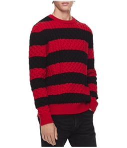 Calvin Klein Mens Striped Cable Pullover Sweater