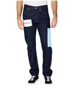 Calvin Klein Mens Logo Print Straight Leg Jeans