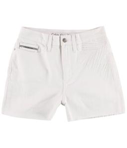 Calvin Klein Womens Embroidered Denim Casual Walking Shorts