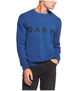 DKNY Mens Logo Crew-Neck Knit Sweater