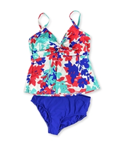Swim Solutions Womens Tahiti Breeze Twist Brief 2 Piece Tankini