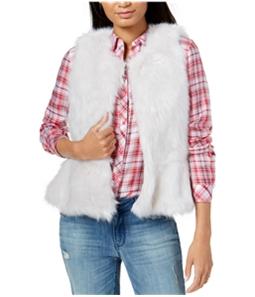 maison Jules Womens Peplum Faux Fur Vest