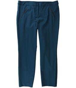 Alfani Womens Faux Leather Trim Casual Trouser Pants