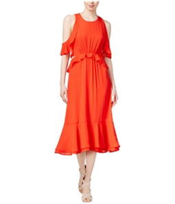 maison Jules Womens Ruffled Cold-Shoulder Midi Dress