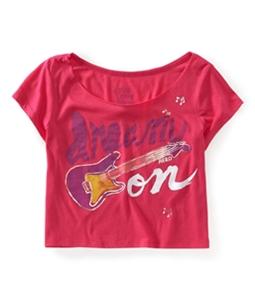 Aeropostale Womens Cropped Guitar Dorm Pajama Sleep T-shirt