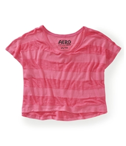 Aeropostale Womens Cropped Striped Dorm Pajama Sleep T-shirt