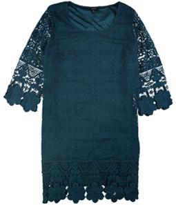 Alfani Womens Crochet-Trim A-line Dress