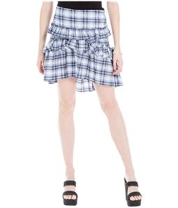 Max Studio London Womens Ruffled Plaid A-Line Asymmetrical Skirt